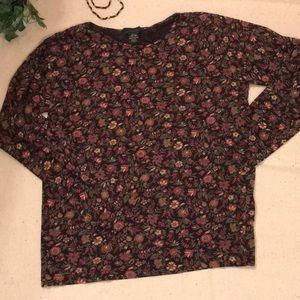 J Crew long sleeved black floral top. Medium